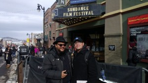 Young Chicano filmmaker Gary Alvarez (right) with writer/director Luis Pineda.